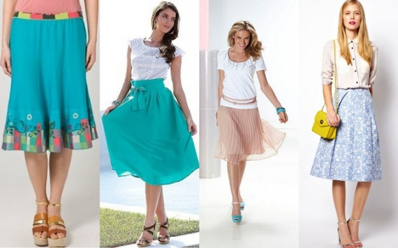 Женская мода на юбки и туфли.